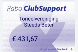 Rabobank Clubsupport 2020 cheque Voor Rabobank is een club zoveel méér dan een club. Daarom BiedtRabobank clubs en verenigingen een steuntje in de rug. Juist nu.Toneelvereniging Steeds Beter bedankt iedereen die op ons heeft gestemd.Met deze bijdrage kunnen wij ons bestedingsdoel realiseren.